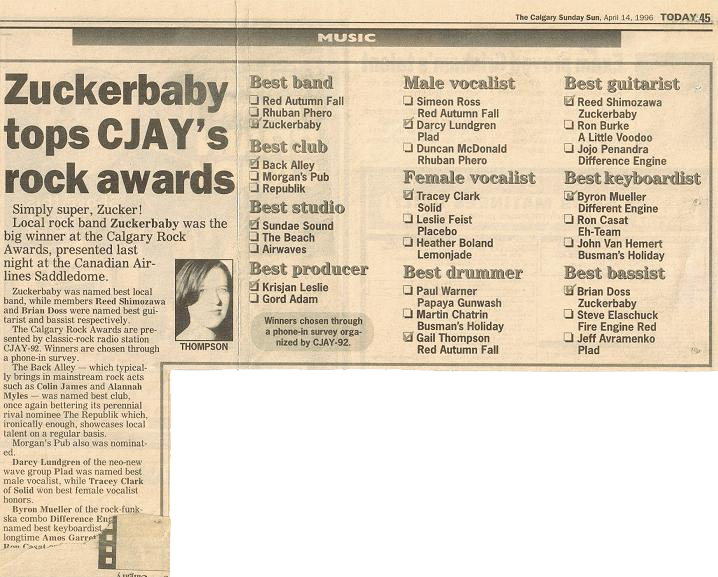 Tracey Clark of the band Solid won the 1996 CJAY92 Rock Award for Best Female Vocalist. A nominee in the same category that year was Leslie Feist.